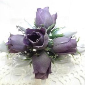 Accessories - Fade-out Purple and Silver Silk Flower Hair Comb
